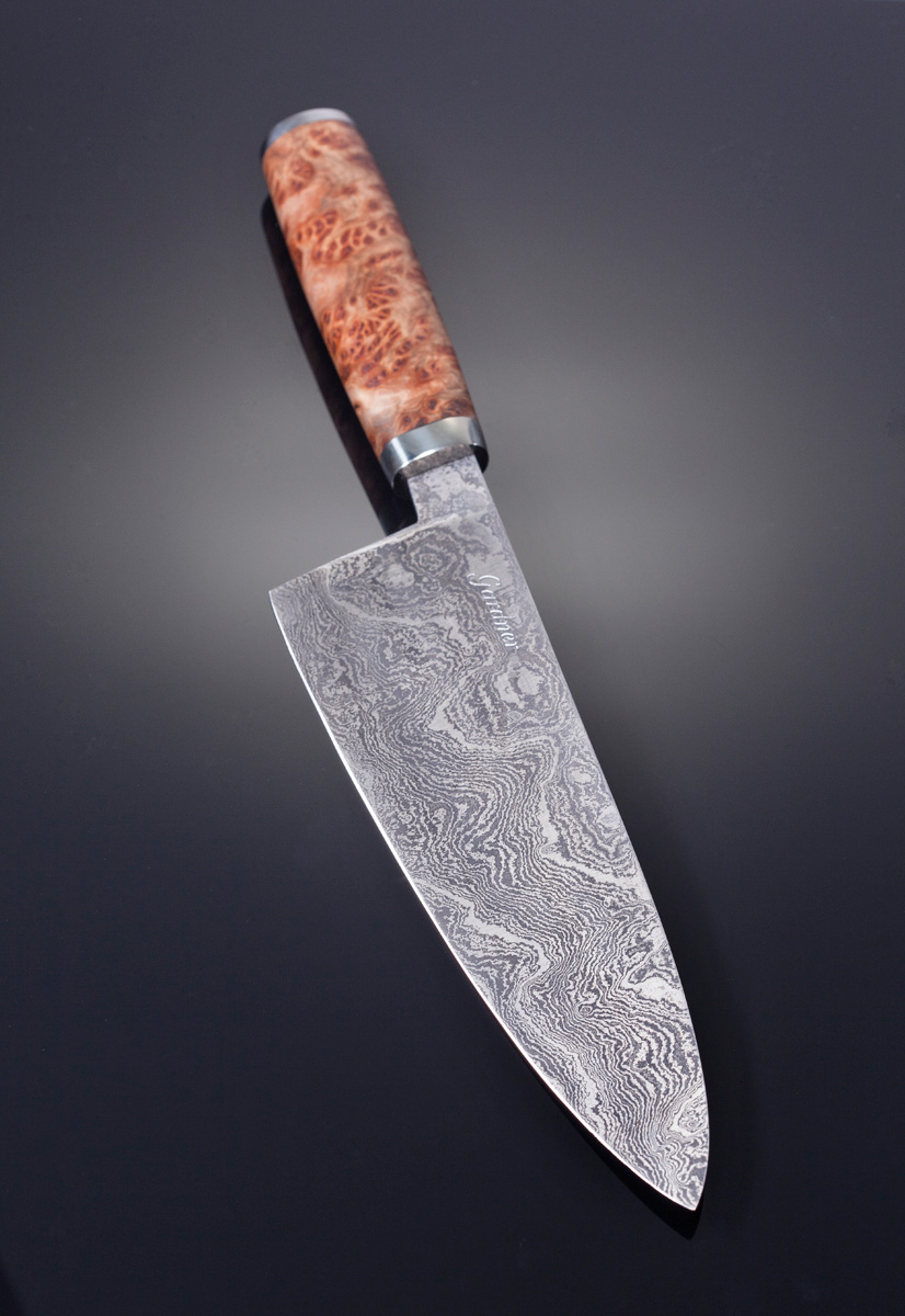Damascus Gyuto w York Gum Burl handle, Nickel Silver Guard and end cap; Blade length is 215mm. Price for similar is $950