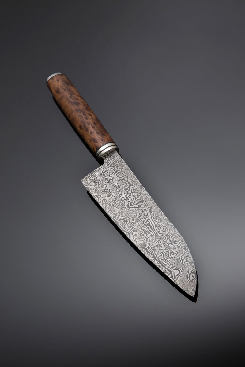 Gyuto in Damascus steel, handle – Redwood Burl with nickel guard and spacers, blade length 185mm, price for similar $900