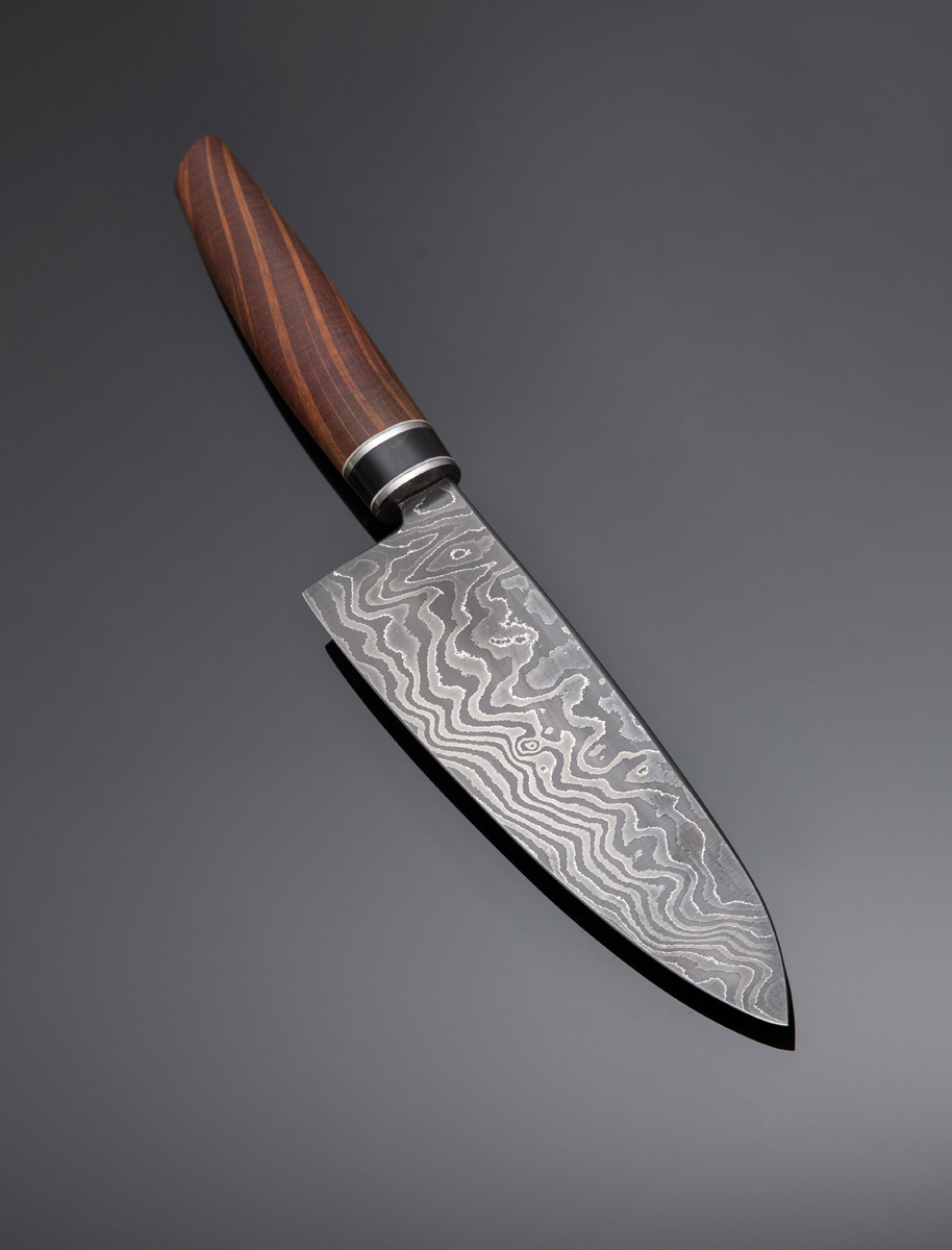 Damascus Santoku w She-Oak handle w Buffalo Horn spacer, Stainless steel guard and spacers; blade length is 190mm. Price for similar is $850