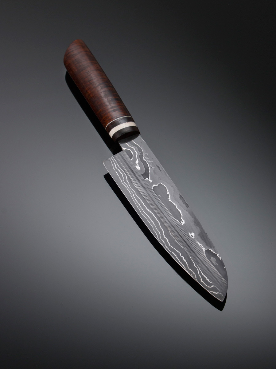 Damascus Santoku w Ringed Gidgee handle w Buffalo Horn and Micarta spacers, Buffalo horn guard; blade length is 190mm. Price for similar is $950