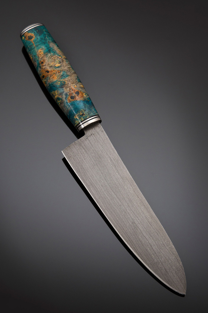 Santoku in Damascus Steel, Handle – Dyed maple burl, Overall length 300mm, Blade length 183mm, Damascus end cap with stainless guard and spacers, Price for similar - $900